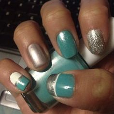 Essie Where's My Chauffeur with Essie Pure Pearlfection, Essie Sterling Silver; sparkles & design