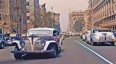 1940s Colorized New York City Street Scenes Back In Time, Back In The Day, Old Video, History Class, Amazing Pics, City Streets, Car Videos, American History, 1940s