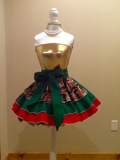 Candy Canes and Ribbons Pinup Hostess Half Apron by ApronsElegante on Etsy