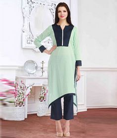 Shop Sea Green Cotton Designer Readymade Kurti 72530 online at best price from vast collection of designer kurti at Indianclothstore.com.