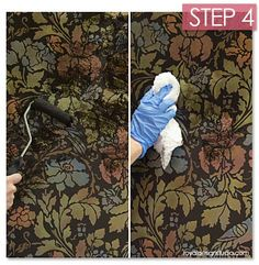 Going beyond Stencil Basics! Antiquing a wall stencil with Stain and Seal water-based stains from Royal Design Studio.