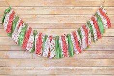 Candy Cane Christmas  Shabby Chic Rag Tie by ThePickledPeanut, $25.00