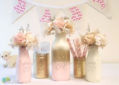 Blush, gold and cream milk bottles and baby shower painted mason jars by BeachBlues on Etsy.
