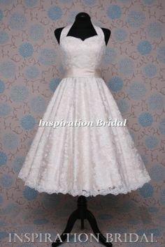 short 50s 60s wedding dresses tea length knee lace halterneck champange... My dress needs to look like this!