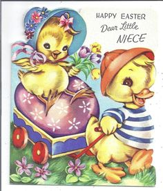 Vtg Easter Card Anthropomorphic Duck Pulling Chick & Egg Cute Cart Very SWEET!