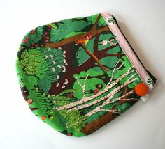 Rounded Zipper Pouch Tiger Lily Heather Ross by andreacreates