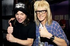Wayne & Garth (Mike Myers & Dana Carvey) from Saturday Night Live! Funny Couple Costumes, Funny Couples, Waynes World Costume, Dana Carvey, Party On Garth, Famous Duos, Celebrity Costumes, Wayne's World, Mtv Movie Awards