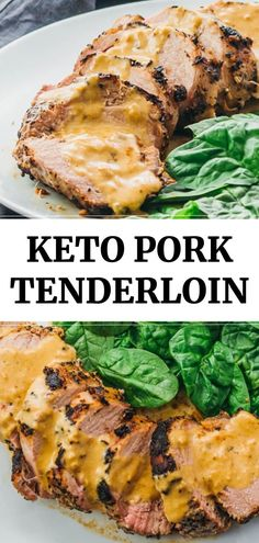 Pork Tenderloin with Creamy Mustard Sauce - Savory Tooth An easy recipe for ultra-tender roasted pork tenderloin with a creamy mustard sauce.An easy recipe for ultra-tender roasted pork tenderloin with a creamy mustard sauce. Lunch Recipes, Easy Dinner Recipes, Lunch Foods, Easy Meals, Healthy Recipes, Recipes With Pork Easy, Ultra Low Carb Recipes, Meat Recipes, Recipies