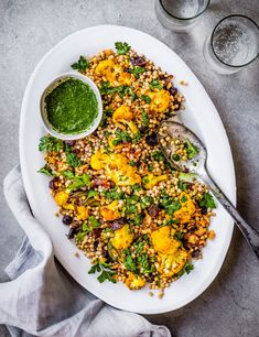Try our cauliflower couscous salad recipe with zhoug. This couscous salad recipe with cauliflower is an easy vegan dinner recipe with roasted cauliflower Easy Vegan Dinner, Vegan Dinner Recipes, Vegan Dinners, Vegan Recipes Easy, Vegetarian Options, Quick Recipes, Free Recipes, Couscous Salad Recipes, Healthy Salad Recipes