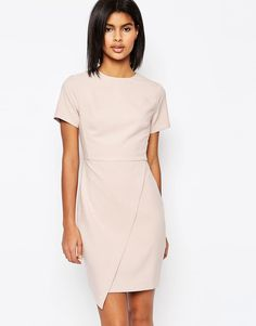 Image 1 of ASOS Short Sleeve Clean Asymetric Mini Dress