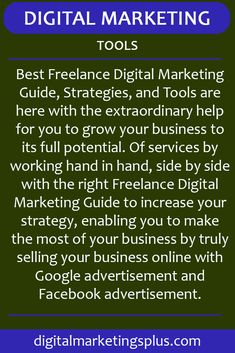 Best Freelance Digital Marketing Guide, Strategies, and Tools are here with the extraordinary help for you to grow your business to its full potential. Online Marketing Tools, Marketing Training, Marketing Software, Digital Marketing Strategy, Email Marketing, Social Media Marketing, Social Media Scheduling Tools, Local Ads, Black Diamond