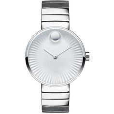 Movado Bold Movado Edge Stainless Steel Bracelet Watch, 3680012 ($795) ❤ liked on Polyvore featuring jewelry, watches, silver, polka dot jewelry, polish jewelry, water resistant watches, movado watches e stainless steel jewellery
