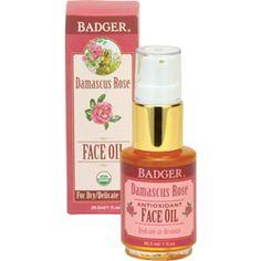 Badger Damascus Rose Antioxidant Face Oil from Badger. With jojoba, baobab seed oil & pomegranate seed oil.