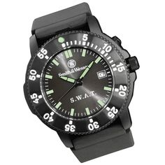 Smith & Wesson Swat Watch - Water resistant to 30 meters/90 feet. Electronic back glow for night vision. Luminous mornings. Rotating bezel. One year manufacturer warranty. Comes in attractive gift box.