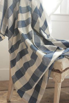 Vintage French Indigo blue hand woven check fabric ~ stunning primitive material ~ ideal for French country interiors ~ www.textiletrunk.com