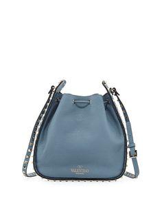 ba9dde7d VALENTINO Rockstud Large Leather Bucket Bag, Gray. #valentino #bags #shoulder  bags #leather #bucket #lace #