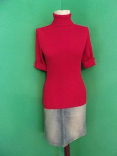 09ebc4e3e81148 White House Black Market Red Ribbed Turtleneck Sweater Short Sleeve Sz M   WhiteHouseBlackMarket  Turtleneck