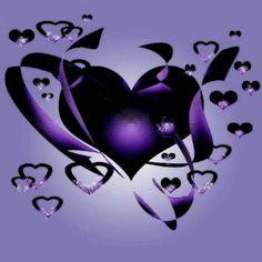 Black and purple hearts
