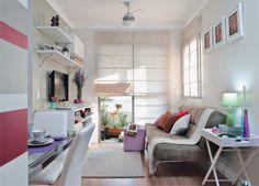 Apenas com revestimentos e sem quebrar paredes, o apartamento compacto se transformou em uma morada alegre