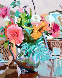 "Sally's Flowers! 24x30"" Oil Painting by Kate Mullin"