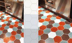 Hexagonal cement tiles from Mosaic del Sur
