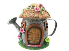 Fairy Garden Watering Can Fairy House - Ideen Fur Garten Clay Fairy House, Fairy Garden Houses, Create A Fairy, Fairy Village, Clay Fairies, Fairy Furniture, Fairy Garden Accessories, Fairy Doors, Miniature Fairy Gardens