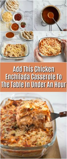 Add This Chicken Enchilada Casserole To The Table In Under An Hour #recipe #casserole #chicken via @vanessacrafting