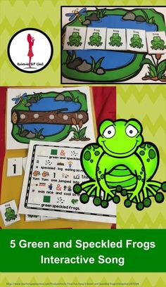5 Green and Speckled Frogs Fun circle time song that is interactive and can be secured to a folder to create a simple and easy song activity that is easy to store. This is a favorite children's rhyme I use this rhyme for a variety of students from stu Reading Centers, Math Centers, Preschool Lessons, Preschool Kindergarten, Preschool Ideas, Circle Time Songs, School Songs, Fun Songs, Thing 1