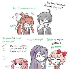 Yes, I do like puns; I made a lot of puns whenever I'm with my friends. So I decided to drew myself with ddlc casts This isn't Doki Doki Pun club Best Memes, Funny Memes, Hilarious, Meme Meme, Doki, Psychological Horror, Cute Games, A Silent Voice, Literature Club
