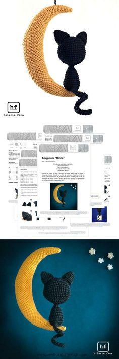 Baby Knitting Patterns Amigurumi Minna Cat Moon - Pattern Spanish & English #amigur...
