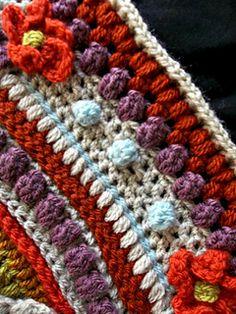 Ravelry: The Amanzi Block/Throw pattern by Jen Tyler Crochet Mandala Pattern, Form Crochet, Granny Square Crochet Pattern, Afghan Crochet Patterns, Crochet Squares, Crochet Stitches, Scrap Yarn Crochet, Crochet Quilt, Crochet Cushions