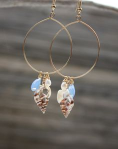 Bridesmaids...these r them! Seashell Earrings Beach Earrings Gold Shell by DRaeDesigns on Etsy, $20.00