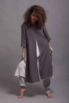 1d1dd2613ad4f Linen Tunic Dress AYA, Loose Fit Casual Tunic, Linen Shirt, Minimalist  Lagenlook Linen dress, Summer linen clothes, Petite - Plus Size Linen