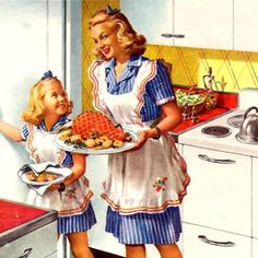 Helping Mommy with Sunday dinner - love the matching outfits! ~ 1946 General Electric Ranges ad.