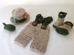 Baby Fishing Outfit - Shorts - Boots/Waders - Hat & Fish - Photography Prop - Newborn - 0-3 Months - 3-6 Months - Crochet by TimelessCrochetCraft on Etsy