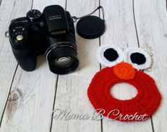 Crochet Elmo Camera Buddy, Crochet Lens Buddy, Elmo Camera Lens Buddy, Camera Buddy