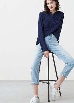 Blusa fluida bolsillos - Camisas de Mujer | MANGO España