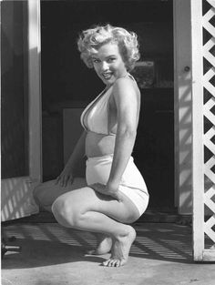 Marilyn Squatting 1953 Oversized Vintage Print | From a unique collection of black and white photography at https://www.1stdibs.com/art/photography/black-white-photography/