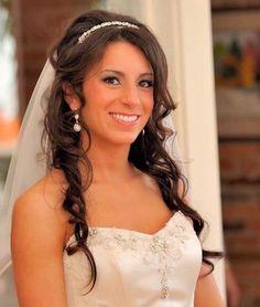 half up half down wedding hairstyle with headband image