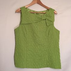 Studio 1 Lime Green Blouse - Size 14 Boutique style blouse with large bow detail. Quilted like fabric in lime green is just adorable. Great condition. Bright and cheery for springtime!  Studio 1 Tops Blouses