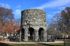 Newport Tower, a historical curiosity.   Nobody knows who built it, or why.