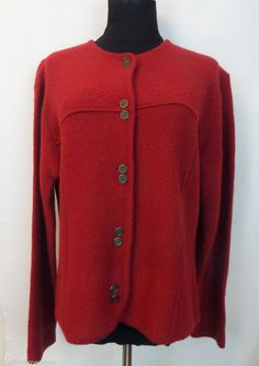 Pendleton Sweater Cardigan Red  Virgin Wool Woman Knit Top Buttons Medium M #Style #Fashion #Deal