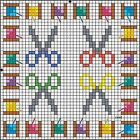 Gallery.ru / Фото #194 - biscornius punto de cruz - anavalles  colorful scissors & thread spools