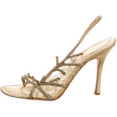 Pre-owned Rene Caovilla Sandals ($145) ❤ liked on Polyvore featuring shoes, sandals, gold, rené caovilla, embellished sandals, embellished shoes, gold shoes and rene' caovilla sandals