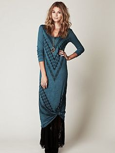 Free People: We The Free Long Sleeve Graphic Maxi Dress