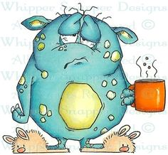 Coffee Monster Morning Unmounted Rubber Stamp Whipper Snapper Designs for sale online Cartoon Drawings, Cute Drawings, 365 Kawaii, Art Fantaisiste, Art Mignon, Happy Paintings, Cute Monsters, Digi Stamps, Fun 2 Draw