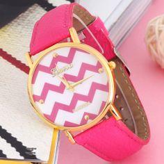 Rose Red Popular Stripes Watch PU Leather Woman Men Analog Quartz Wrist  Watches  87abf935d55
