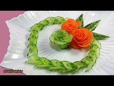 Artistic Cucumber, Carrot Rose Carving & Design – From Vegetable Into Flower Garnish - YouTube
