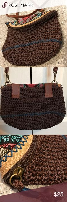"THE SAK CROCHET CROSS-BODY The SAK crochet brown tribal print cross-body. Tapestry top zip flap zip and interior zip. Bag is new and never used. Has detachable strap up to 22"", also includes body belt. Bag is small but is large enough for a large wallet/iPhone 7plus..etc. Clean and in excellent condition/smoke free household. The Sak Bags Crossbody Bags"