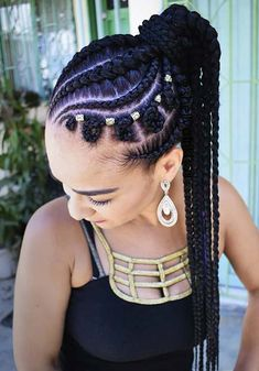 35 Must Try Cornrow Hairstyles - Unique Ponytail Cornrow Designs - Braided Ponytail Black Hair, Braided Ponytail Hairstyles, African Braids Hairstyles, Braids For Black Hair, Trendy Hairstyles, Girl Hairstyles, Hairstyles 2018, Ponytail Bun, African Hairstyles